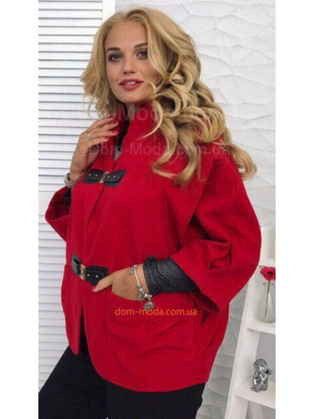 Женское легкое пальто с рукавом три четверти для полных