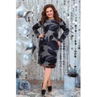 Женское трикотажное платье с длинным рукавом в принт для полных