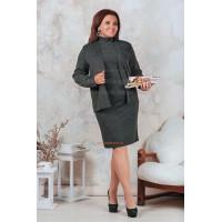 Женский повседневный костюм платье с пиджаком для полных