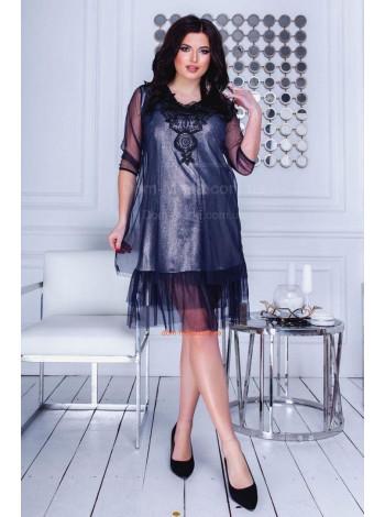 Стильное вечернее платье с сеткой большого размера