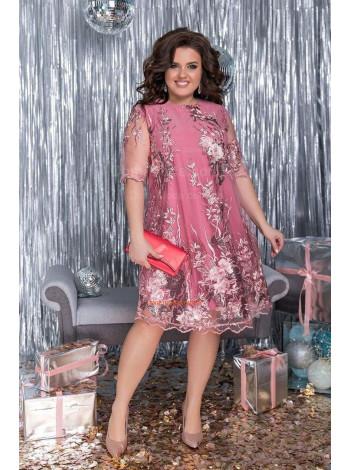 Вечернее гипюровое платье с коротким рукавом