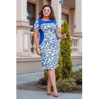 Трикотажное летнее платье с коротким рукавом для полных