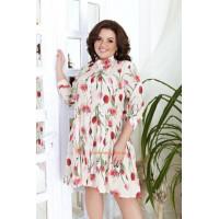 Красивое летнее платье для полных девушек в цветочек