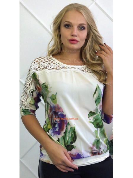 Жіноча шифонова блузка із мереживом