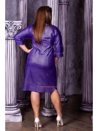 Вечірнє трикотажне плаття із прикрасою для повних