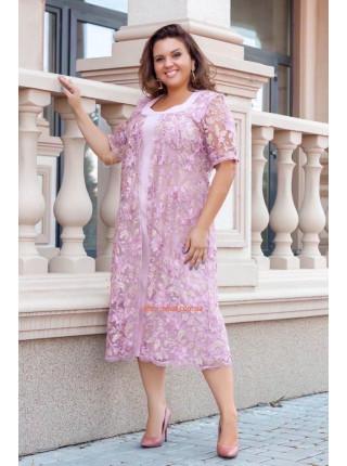 Вечірня сукня із гіпюровою накидкою великого розміру