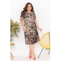 Недорогое летнее платье для полных с леопардовым принтом