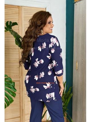 Блуза батал в цветочек