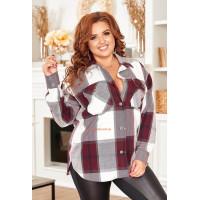 Жіноча модна клітчаста сорочка з довгим рукавом великого розміру
