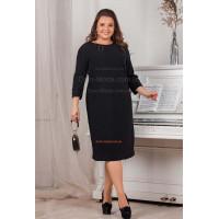 Женское черное платье большого размера для офиса