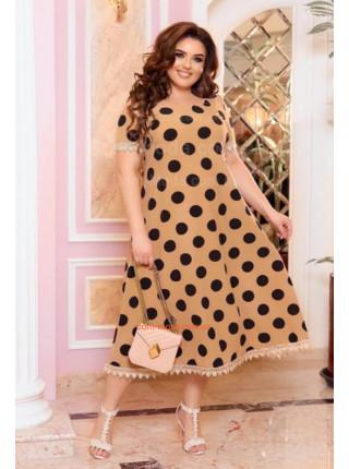 Літня сукня в горох великого розміру з мереживом