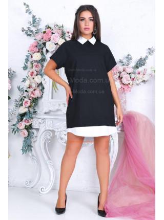Летнее платье с воротником для полных