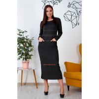 Модное женское платье в пол с длинным рукавом из ангоры