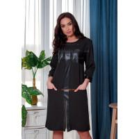 Платье комбинированное с кожей большого размера