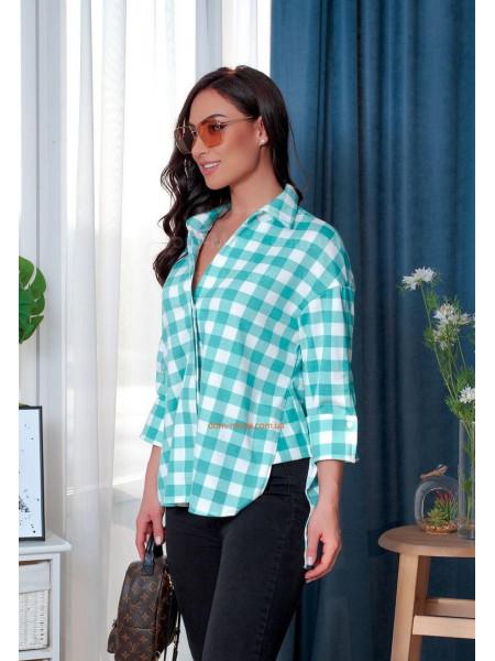 Клетчатая женская рубашка асимметричная