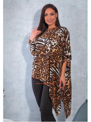 Женская леопардовая туника для полных