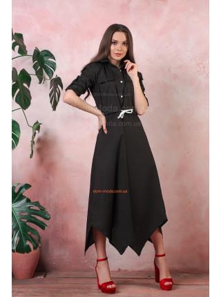 Женское платье рубашка миди на пуговицах
