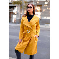 Жіноче стильне кашемірове пальто з поясом батального розміру