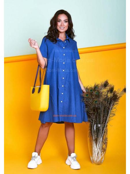 Джинсовое платье рубашка для полных
