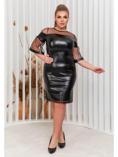 Красивое платье из экокожи для полных
