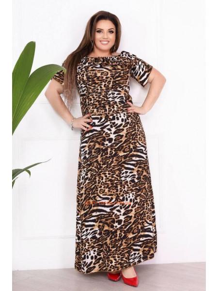 Довга леопардова сукня для повних