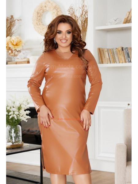 Платье из экокожи для полных