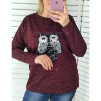 Стильний теплий жіночий светр з паєтками