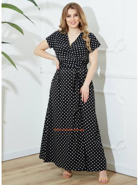 Довге плаття в горошок для повних жінок