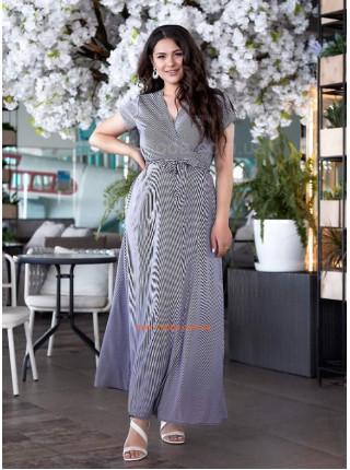 Довге літнє плаття в полоску великого розміру