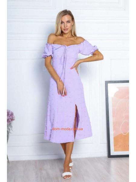 Літнє плаття з відкритими плечима і розрізом