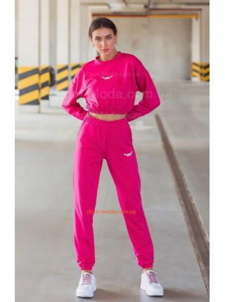 Молодежный спортивный костюм с короткой кофтой для девушек