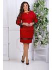 Женское деловое платье до колена с рукавом большого размера