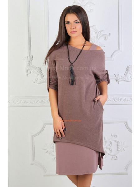 Модное женское платье двойка для полных
