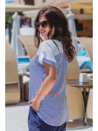 Летняя блузка женская в полоску большой размер