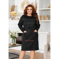 Теплое черное платье для полных