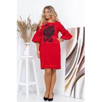 Женское красное платье батал