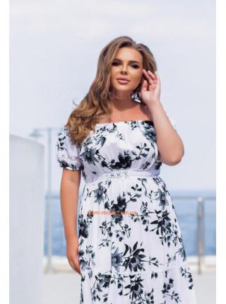 Літнє плаття з відкритими плечима в квіточку