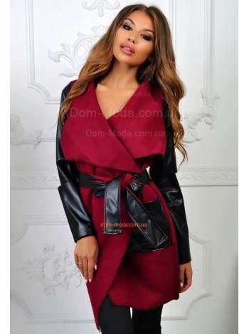 Женский кашемировый кардиган  пальто с эко кожей