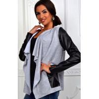 Модный женский кардиган с кожаными рукавами