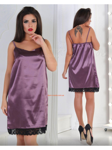 Женская атласная ночная сорочка с кружевом большого размера