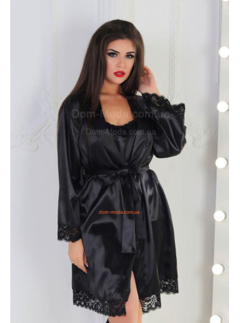 Жіночий атласний халат з мереживом великого розміру