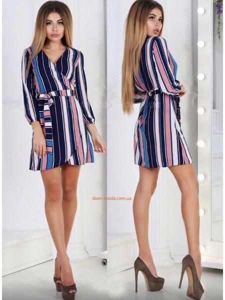 Недорогое короткое женское платье на запах в полоску
