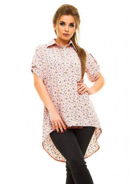 """Женская летняя рубашка туника """"Цветочный принт"""""""