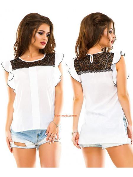 Модная летняя женская блуза с кружевом