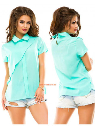 Модная женская летняя блуза с воротником