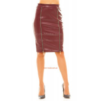 Женская кожаная юбка до колена норма и батал