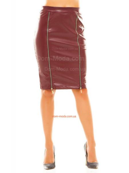 Жіноча шкіряна спідниця до коліна норма і батал