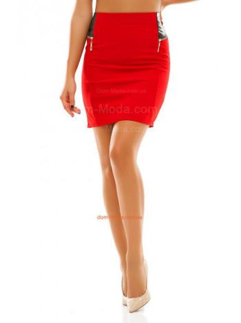 Коротка юбка зі шкіряними вставками