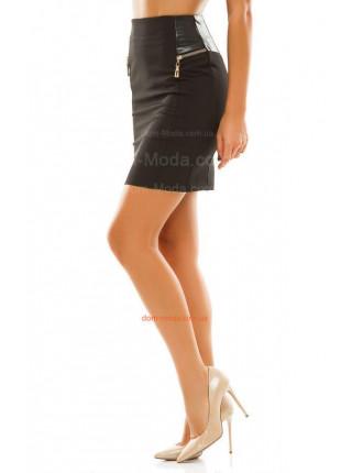 Короткая юбка с кожаными вставками