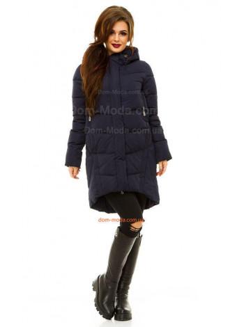 Синяя зимняя куртка женская асимметричного кроя